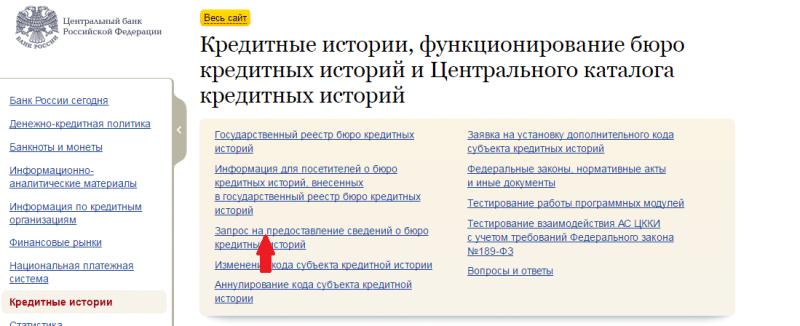 банк россии кредитная история узнать